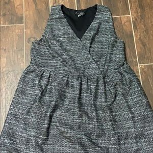 Grey and silver A-line dress with v-neck